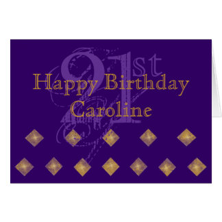 Purple and Gold 21st Birthday Card