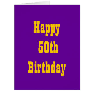 Purple and Gold 50th Big Birthday Card