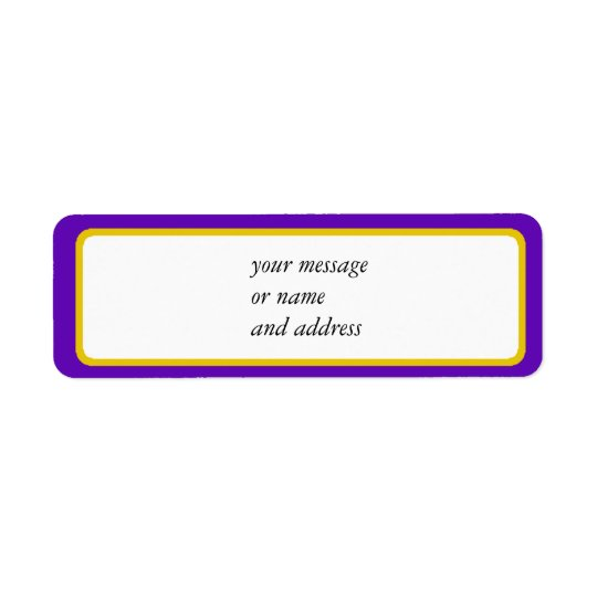 Purple And Gold Border Trim Return Address Label