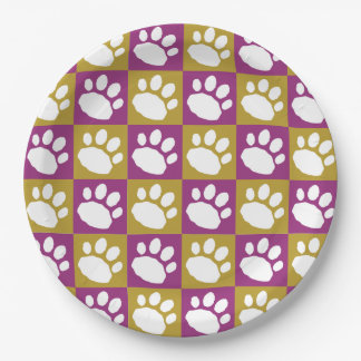 Purple and Gold Checkerboard Paw Print Paper Plate