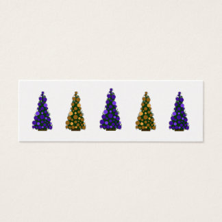 Purple and Gold Christmas Tree Slim Gift Tag Mini Business Card