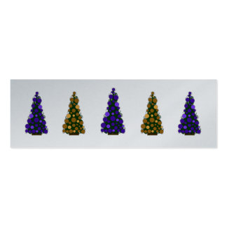 Purple and Gold Christmas Tree Slim Gift Tag Pack Of Skinny Business Cards