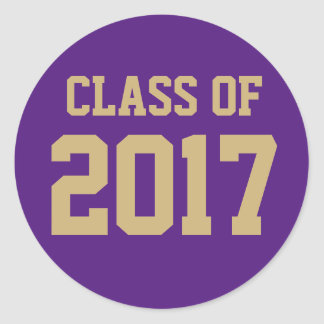 Purple and Gold Class of 2017 Graduation Sticker
