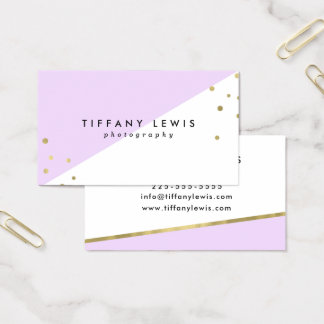 Purple and Gold Confetti Business Cards
