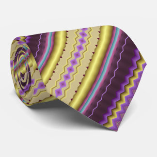 Purple and Gold Diagonal Fractal Pattern Tie