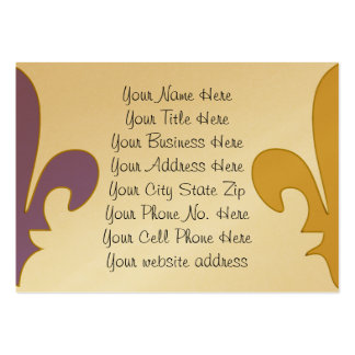 Purple and Gold fleur de lis gifts Large Business Cards (Pack Of 100)