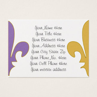 Purple and Gold fleur de lis gifts Business Card