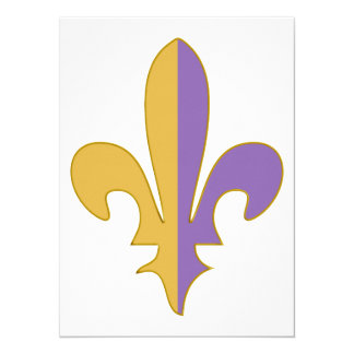 "Purple and Gold fleur de lis gifts 5.5"" X 7.5"" Invitation Card"