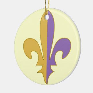 Purple and Gold fleur de lis gifts Round Ceramic Decoration