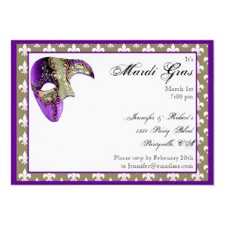 """Purple and Gold Fleur de Lis Mask Mardi Gras Party 5"""" X 7"""" Invitation Card"""