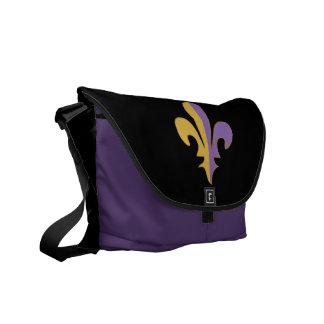 Purple and Gold fleur de lis Messenger Bag