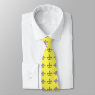Purple and Gold Fleur De Lis Necktie