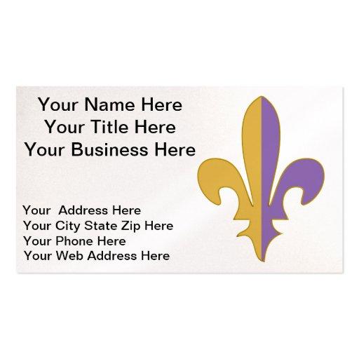 Purple and Gold fleur de lis office Business Card Template