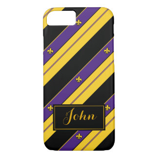 Purple and Gold Fleur-de-lis Pattern iPhone 8/7 Case