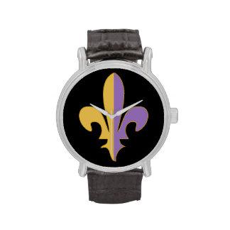 Purple and Gold fleur de lis watch