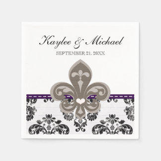Purple and Gold Fleur de Lis Wedding Standard Cocktail Napkin