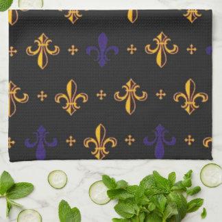 Purple and Gold Fleurs De Lis Tea Towel