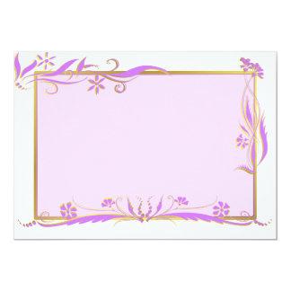 Purple and gold floral ornament 13 cm x 18 cm invitation card