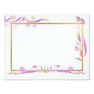 Purple and gold floral ornament 11 cm x 14 cm invitation card