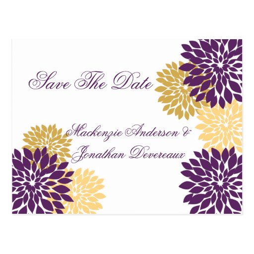 Purple and Gold Flower Petals Save The Date Post Cards