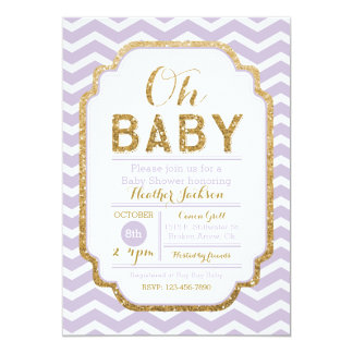 Purple and Gold Girl Baby Shower Invitation
