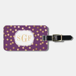 Purple and Gold Glitter City Dots Monogram Luggage Tag
