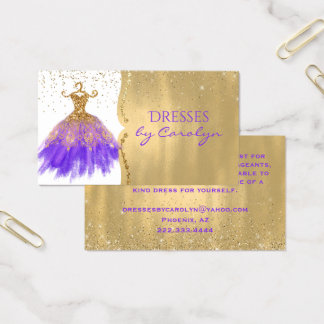 Purple and Gold Glittery Seamstress Business Card