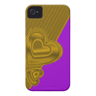 Purple and gold Hearts BlackBerry Bold Case-Mate iPhone 4 Case
