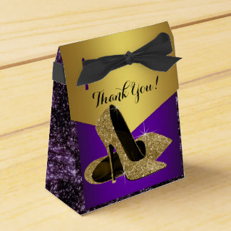 Purple and Gold High Heel Shoe Birthday Favour Box
