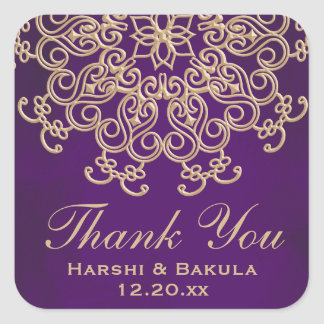 PURPLE AND GOLD INDIAN INSPIRED THANK YOU LABEL SQUARE STICKER