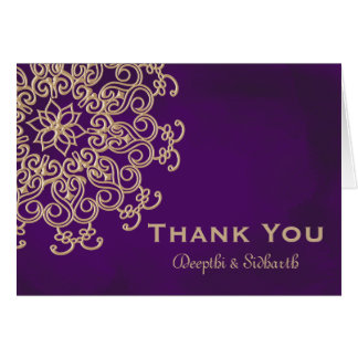 PURPLE AND GOLD INDIAN STYLE WEDDING THANK YOU CARD