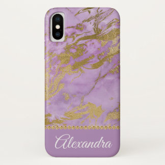 Purple and Gold Marble Elegant Girly iPhone X Case