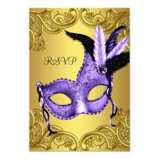 Purple and Gold Masquerade Party RSVP 9 Cm X 13 Cm Invitation Card