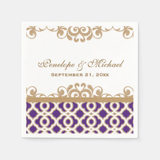 Purple and Gold Moroccan Wedding Disposable Napkin