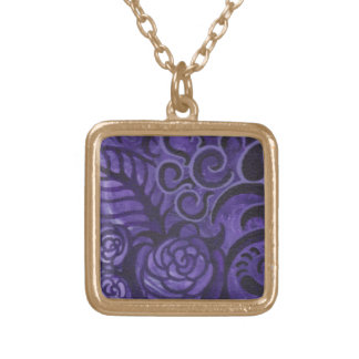 Purple and Gold Painted Flower Necklace
