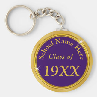 Purple and Gold Personalized Class Reunion Gifts Basic Round Button Key Ring