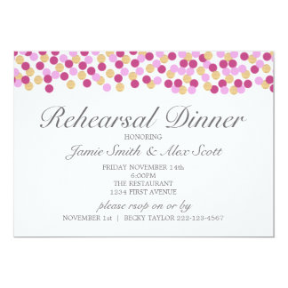 Purple and Gold Polka Dot Rehearsal Dinner Invite