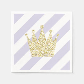 Purple and Gold Princess Crown Napkins Disposable Serviette
