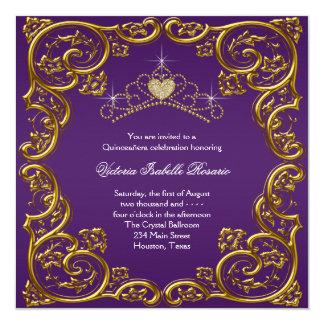 Purple and Gold Quinceanera 13 Cm X 13 Cm Square Invitation Card