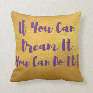 Purple and Gold Quote Pillow