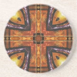 Purple and Gold Royal Tiles Beverage Coaster