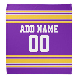 Purple and Gold Sports Jersey Custom Name Number Bandana