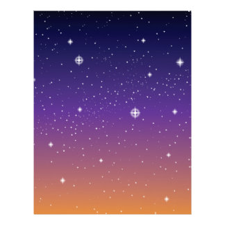 Purple and Gold Starry Sunset Sky 21.5 Cm X 28 Cm Flyer