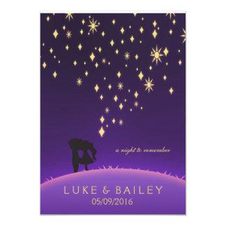 Purple and Gold Stars 13 Cm X 18 Cm Invitation Card