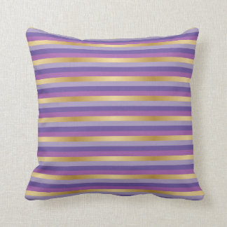 Purple and Gold Stripes Cushion