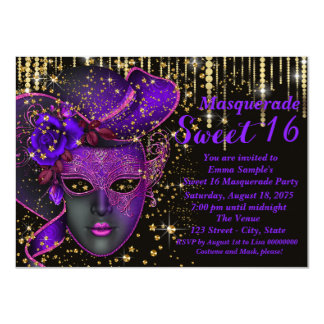 Purple and Gold Sweet Sixteen Masquerade Party 11 Cm X 16 Cm Invitation Card