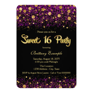 "Purple and Gold Sweet Sixteen Party 4.5"" X 6.25"" Invitation Card"