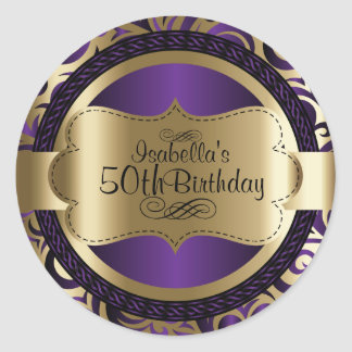 Purple and Gold Swirl Abstract Birthday Round Sticker