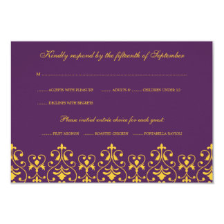 Purple and Gold Vintage Baroque RSVP Response Card