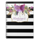 Purple and Gold Watercolor Flowers Notebook